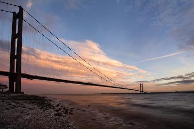 The Humber Bridge at Dusk, East Riding of Yorkshire, Yorkshire, England, United Kingdom, Europe-Mark Sunderland-Photographic Print