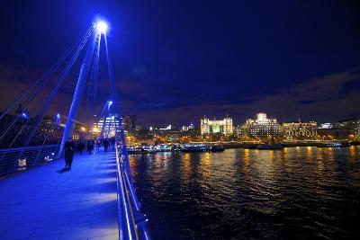 The Hungerford Pedestrian over the Thames in London, at Night-Richard Wright-Photographic Print