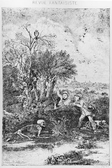 The Hunters Overtaken by Death, 1857-Rodolphe Bresdin-Giclee Print