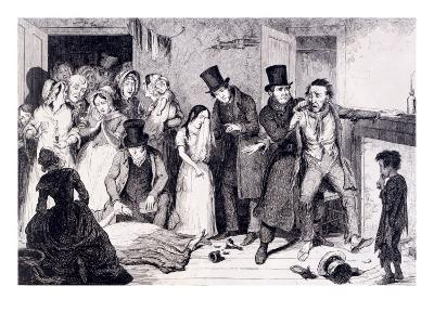 The Husband Kills the Wife, London, England, 1847-George Cruikshank-Giclee Print