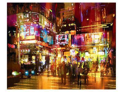 The Hustle Nightscape--Art Print
