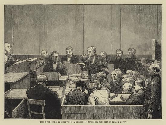 The Hyde Park Prosecutions, a Sketch in Marlborough Street Police Court-William III Bromley-Giclee Print