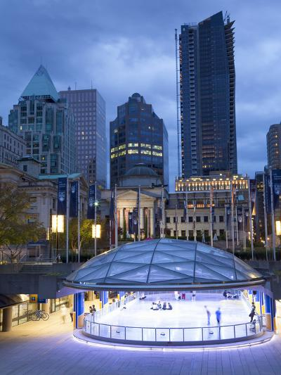 The Ice Rink at Night, Robson Square, Downtown, Vancouver, British Columbia, Canada, North America-Martin Child-Photographic Print