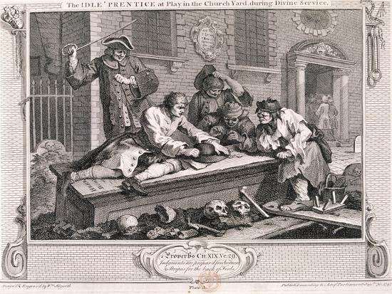 The Idle Prentice at Play in the Church Yard ..., Plate III of Industry and Idleness 1747-William Hogarth-Giclee Print