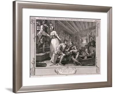 The Idle Prentice Betray'D by His Whore ..., Plate IX of Industry and Idleness, 1747-William Hogarth-Framed Giclee Print