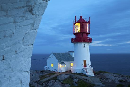 The Idyllic Lindesnes Fyr Lighthouse Illuminated at Dusk-Doug Pearson-Photographic Print