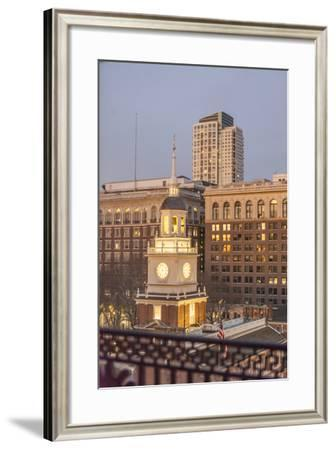 The Illuminated Clock Tower of Historic Independence Hall-Richard Nowitz-Framed Photographic Print