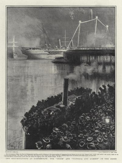 The Illuminations at Portsmouth, the Ophir and Victoria and Albert at the Jetty-Joseph Nash-Giclee Print