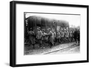 The Image Shows a German Prisoners Column in France, Near to a Train