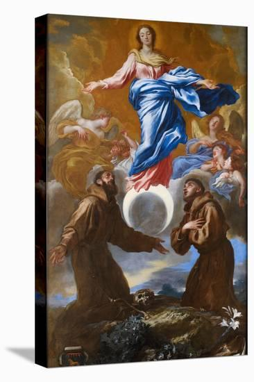 The Immaculate Conception with Saints Francis of Assisi and Anthony of Padua, 1650-Giovanni Benedetto Castiglione-Stretched Canvas Print