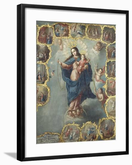 The Immaculate Conception with the Fifteen Mysteries of the Rosary-Miguel Cabrera-Framed Giclee Print