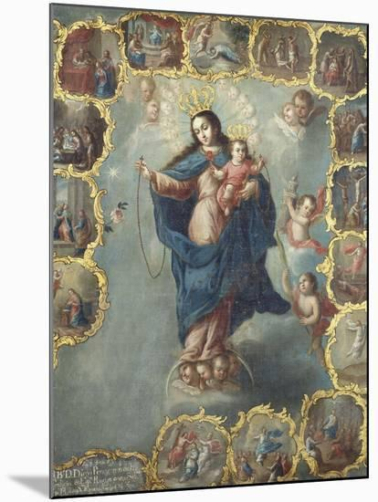 The Immaculate Conception with the Fifteen Mysteries of the Rosary-Miguel Cabrera-Mounted Giclee Print