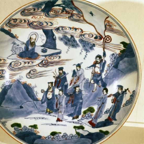 The immortals visit Shou-Lao, god of Longevity, Porcelain dish, 17th century-Unknown-Giclee Print