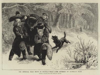 The Imperial Bear Hunt in Russia, Dead, the Emperor of Austria's Prize-Samuel Edmund Waller-Giclee Print