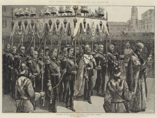 The Imperial Coronation at Moscow, Procession of the Emperor and Empress after Being Crowned-William Heysham Overend-Giclee Print