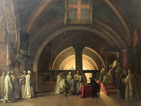 The Inauguration of Jacques de Molay into the Order of Knights Templar in 1295-Francois-Marius Granet-Giclee Print