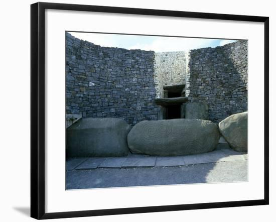 The Incised Entrance Stone in Front of the Mouth of the Passage to the Burial Chamber at Newgrange--Framed Giclee Print