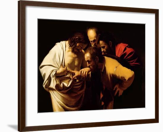 The Incredulity of St. Thomas, 1602-03-Caravaggio-Framed Giclee Print