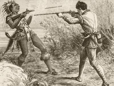 The Indian Chief Paugus Is Killed by an English Militiaman--Giclee Print