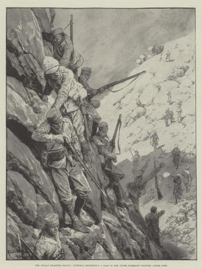The Indian Frontier Rising, Gurkhas Descending a Pass in the Upper Mohmand Country under Fire-Richard Caton Woodville II-Giclee Print