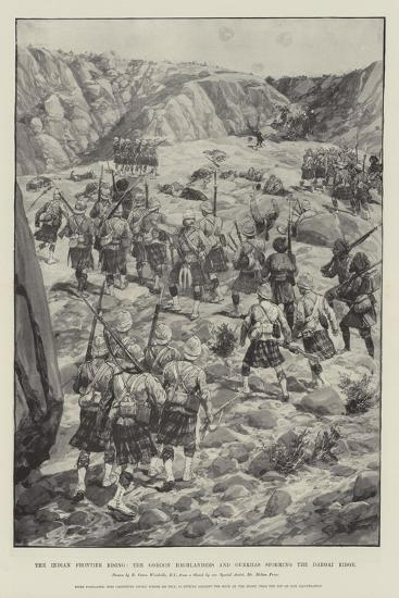 The Indian Frontier Rising, the Gordon Highlanders and Gurkhas Storming the Dargai Ridge-Richard Caton Woodville II-Giclee Print