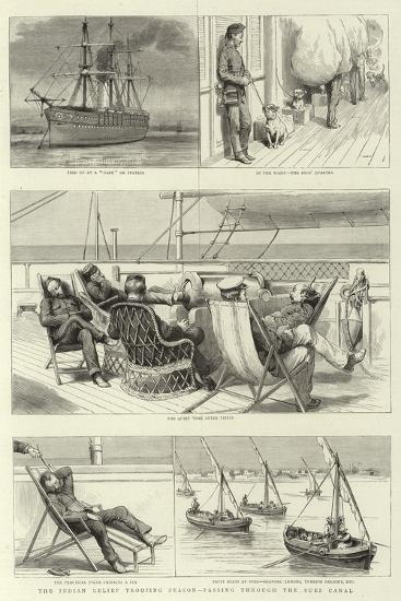 The Indian Relief Trooping Season, Passing Through the Suez Canal--Giclee Print