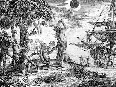 The Indians Astonished at the Eclipse of the Moon Foretold by Columbus, Illustration from 'A New…--Giclee Print