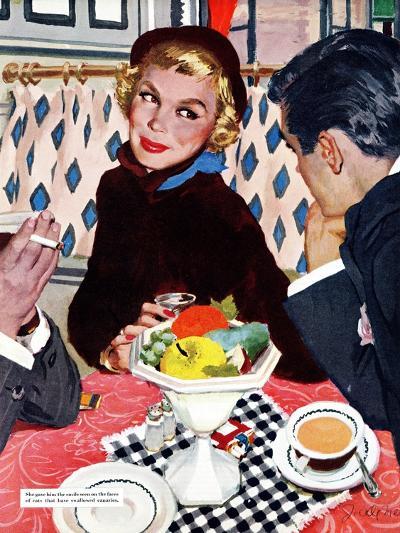"The Indiscreet Window  - Saturday Evening Post ""Leading Ladies"", January 20, 1951 pg.20-Joe deMers-Giclee Print"