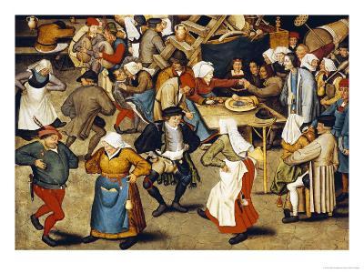 The Indoor Wedding Dance-Pieter Bruegel the Elder-Giclee Print