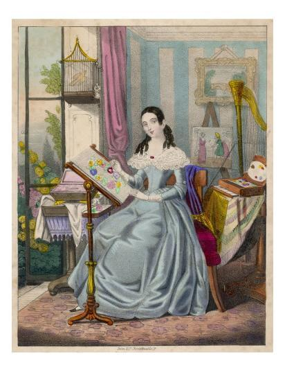 The Industrious Young Lady' - a Victorian Girl and Her Accomplishments--Giclee Print