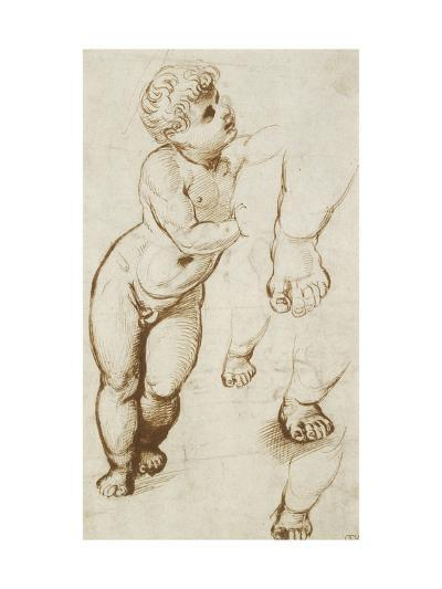 The Infant Christ and Other Studies (Pen and Dark-Brown Ink over Preliminary Indications in Leadpoi-Raphael-Giclee Print