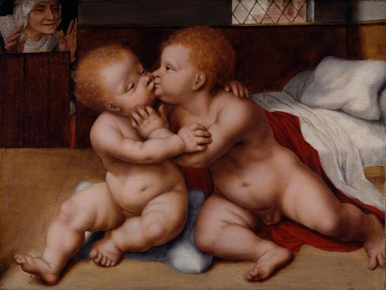 The Infant Christ with the Infant St John the Baptist-Quentin Massys or Metsys-Giclee Print