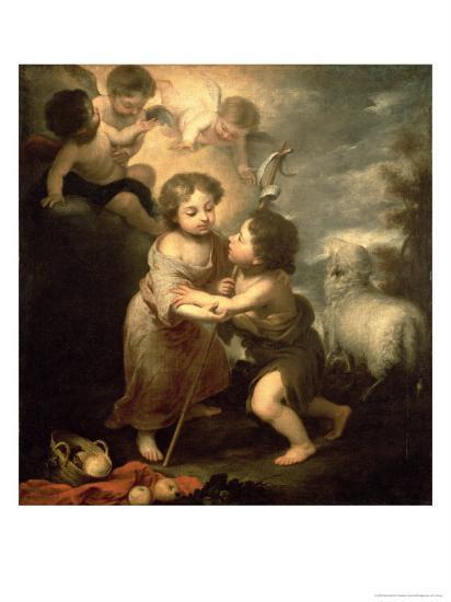 The Infants Christ and John the Baptist-Bartolome Esteban Murillo-Giclee Print