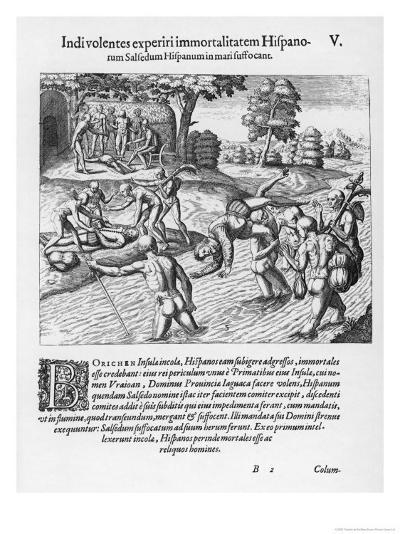 The Inhabitants of Puerto Rico Test the Belief That the Spaniards are Immortal by Drowning Salsedo-Theodor de Bry-Giclee Print