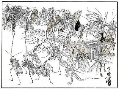 The Insect Daimio Cortege, 1878-Kiosai Kiosai-Giclee Print