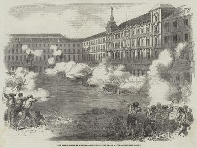 The Insurrection in Madrid, Conflict in the Plaza Mayor--Giclee Print