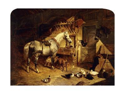 The Interior of a Stable with a Dapple Grey Horse, Ducks, Goats, and a Cockerel by a Manger-John Frederick Herring I-Giclee Print