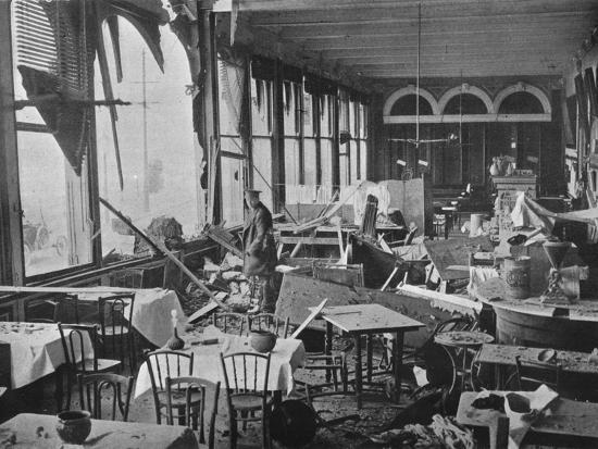 'The interior of the Grand Hotel, showing the damage done by the bombardment', 1914-Unknown-Photographic Print