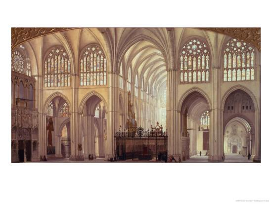 The Interior of Toledo Cathedral, 1856-Francisco Hernandez Y Tome-Giclee Print