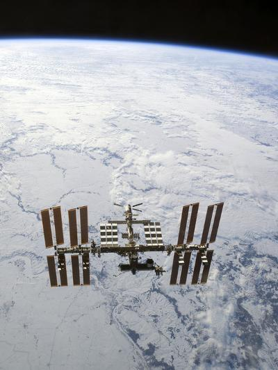 The International Space Station in Orbit Above Earth-Stocktrek Images-Photographic Print
