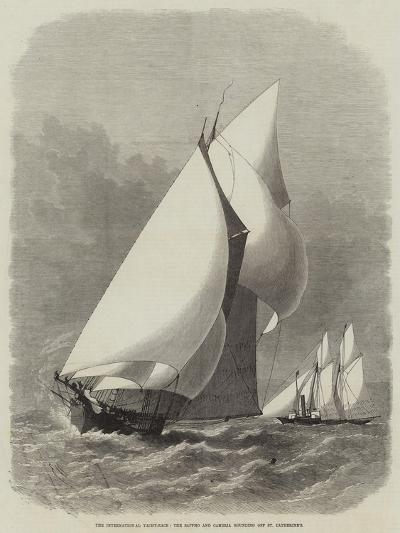 The International Yacht-Race, the Sappho and Cambria Rounding Off St Catherine'S-Edwin Weedon-Giclee Print