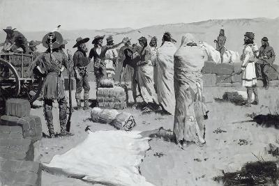 The Interpreter Waved at the Youth, C.1900-Frederic Remington-Giclee Print