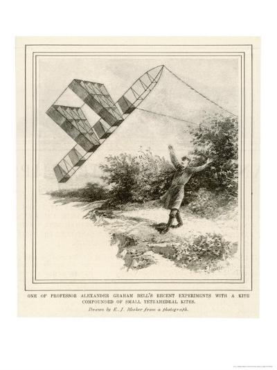 The Inventor Alexander Graham Bell Flying His Tetrahedral Kite-E.j. Meeker-Giclee Print