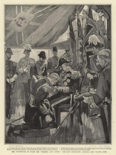 The Investiture on Board the Victoria and Albert, the King Decorating Admiral Lord Walter Kerr-William Hatherell-Giclee Print