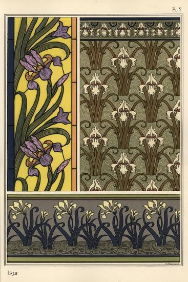 The Iris in Various Patterns for Stained Glass, Wallpaper and Fabrics--Giclee Print