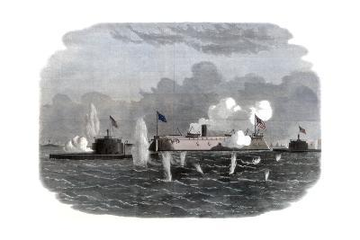 The Iron-Clad Frigate, New Ironsides, and Two Ericsson Batteries Going into Action at Charleston--Giclee Print