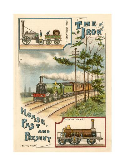 The Iron Horse Past and Present, C1900--Giclee Print
