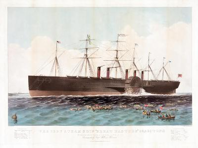 The Iron Steam Ship 'Great Eastern' 22,500 Tons, Pub. Currier and Ives, C.1858--Giclee Print