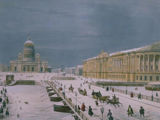 The Isaac Cathedral and the Senate Square in St. Petersburg, 1840s-Paul Marie Roussel-Giclee Print
