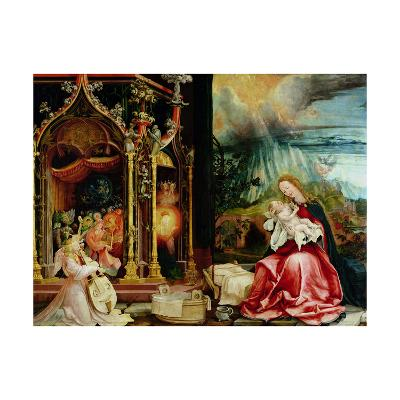 The Isenheim Altarpiece, Central Panel: Concert of Angels and Nativity, 1506-1515-Matthias Gr?newald-Giclee Print
